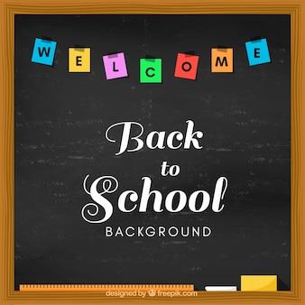 黒板に書かれた学校への歓迎バック