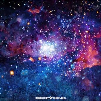 Яркий акварельный фон галактики