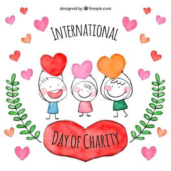 慈善団体のインターナショナルな日に水彩画の子供たち