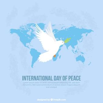 Плоский голубь с лавровым листом и карта мира