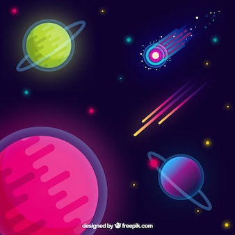 フラットデザインのカラフルな惑星の背景