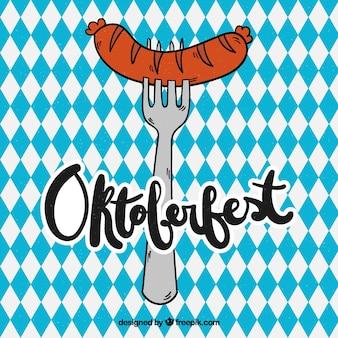 Рисованная вилка с колбасой в октоберфесте