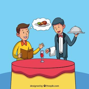 彼の夕食を注文手描きの男