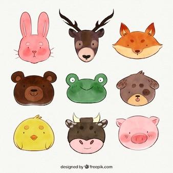 かわいい動物の顔の水彩画のコレクション