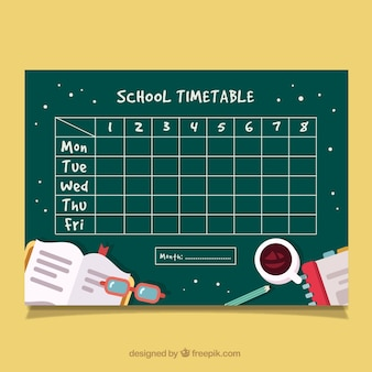 タッシャーのアクセサリーを使った学校の時刻表
