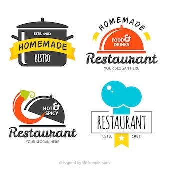 フラットなレストランロゴの楽しいセット