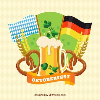 フラッグ、ビール、プレッツェル、フラットデザインの小麦
