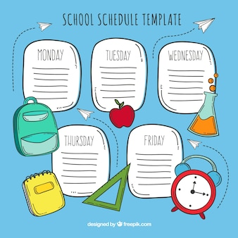 青い手で描かれた学校の時刻表