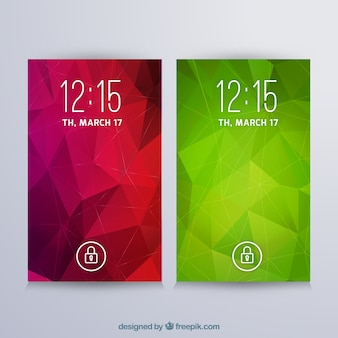 モバイルの赤と緑の幾何学的な壁紙