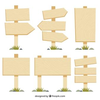 Коллекция деревянного знака в плоском дизайне