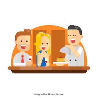 レストランのハッピーカップルとウェイター