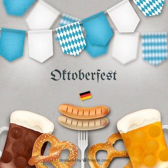 オクトーバーフェストのドイツ料理とビール