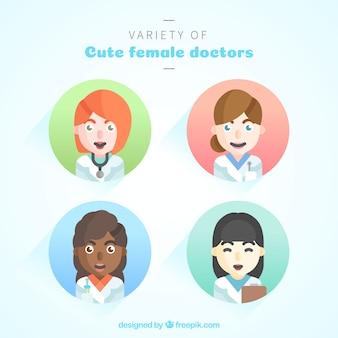 かわいい女性医師の様々な