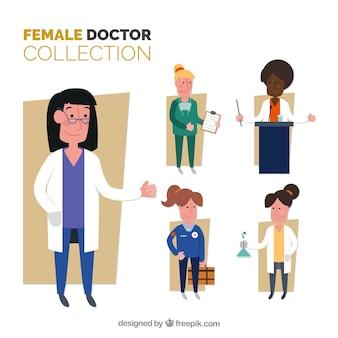 スマイリーな女性医師のフラットなコレクション