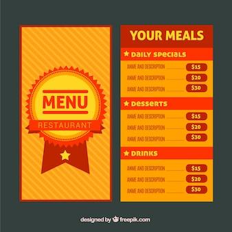 レストランメニュー、赤とオレンジ
