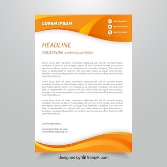 抽象的な形をしたオレンジの企業のパンフレット
