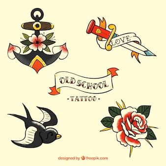 美しいレトロな手描きの入れ墨のセット