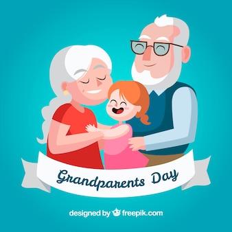 Прекрасные дедушки и бабушки с удовольствием с внучкой