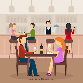 フラットデザインのレストランで食事をするカップル