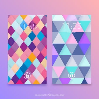 モバイルカラーの幾何学的な壁紙のパック