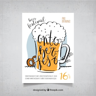 手でビールとプレッツェルを描いたポスター