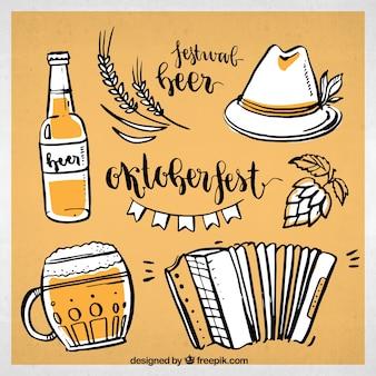 ドイツのパーティー要素の手描きパック