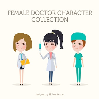 Коллекция врачей-женщин с вакциной и буфером обмена