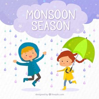 Фон детей, играющих под дождем