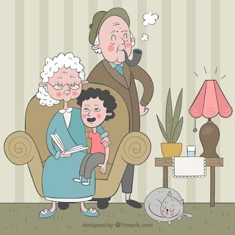 孫を持つ手描きの祖父母