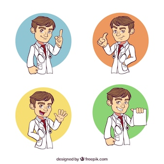 幸せな手描きの医師のセット