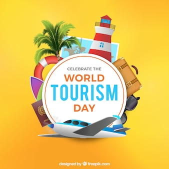 Реалистичная сцена для дня мирового туризма
