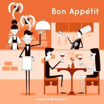 モダンなスタイルのカップルとレストランのスタッフ