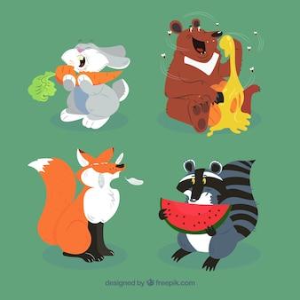 Коллекция счастливых животных, которые едят