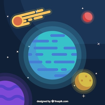フラットデザインの惑星と隕石の背景