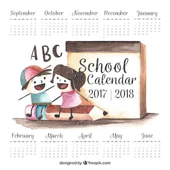 水彩学校の子供のカレンダー