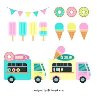 アイスクリーム、ドーナツ、食品トラック
