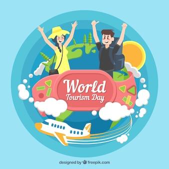 Пара путешественников, день мирового туризма