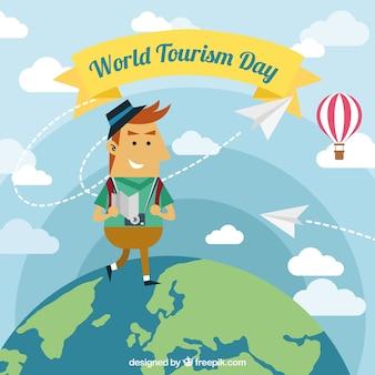 世界を歩く男、世界の観光日