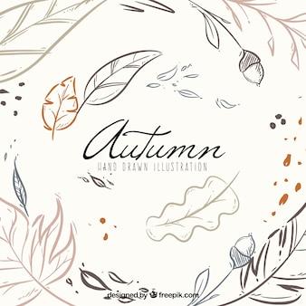 モダンなスタイルで手を引く秋の背景