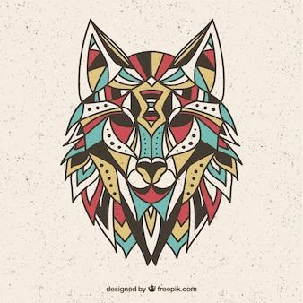 カラフルな狼のデザイン