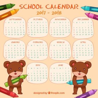 クリスマスのテディベアの学校のカレンダー