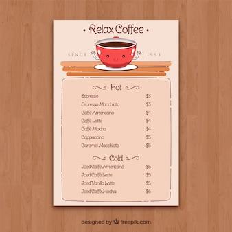 コーヒーショップの手描きメニュー