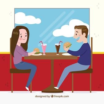 レストラン、カップル、食べること、シーン