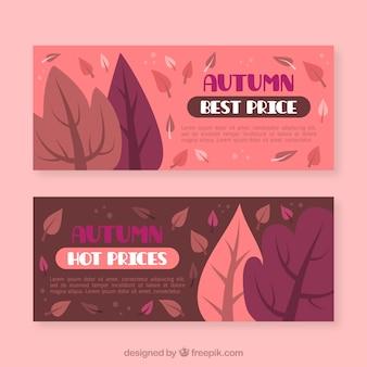 葉のある秋のバナー