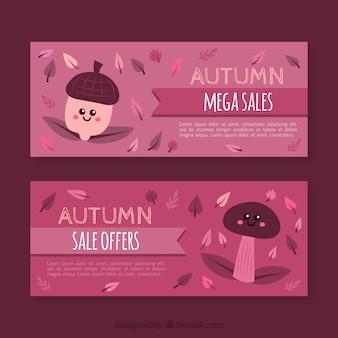キノコとドングリの秋のバナー