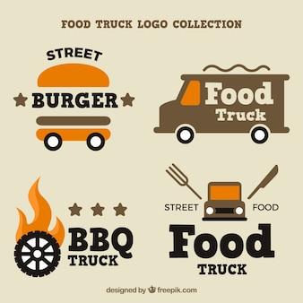 クールな様々な食品トラックのロゴ