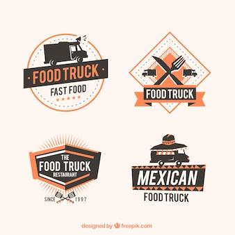 エレガントなスタイルの食品トラックのロゴ