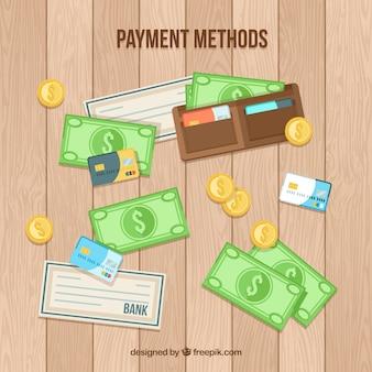 手描きの現金、クレジットカード、小切手