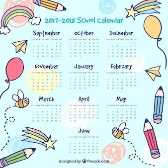 素敵な絵の学校のカレンダー
