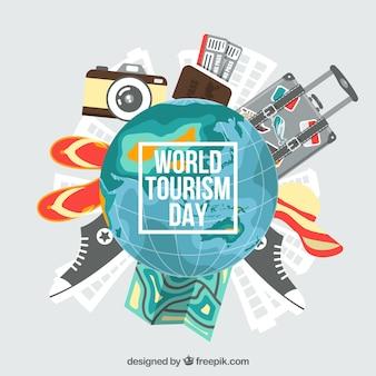 旅行の要素を持つ地球、世界の観光日